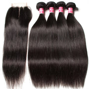 Virgin Peruvian Hair Straight Hair 4 Bundles With 4*4 Lace Closure, Hotsale Peruvian Hair Weaves - Sunberhair