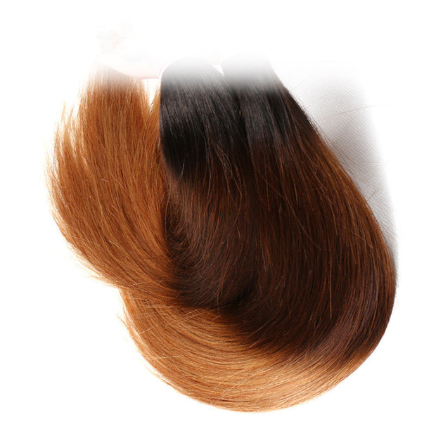 "Ombre Straight Hair Weave 1 Bundle, T1B/4/27 Color 16""-26"", Peruvian/Malaysian/Brazilian Hair - Sunberhair"
