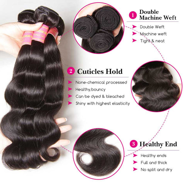 Brazilian Body Wave 3 Bundles With Closure, Deals on Bundles of Brazilian Virgin Hair Weave