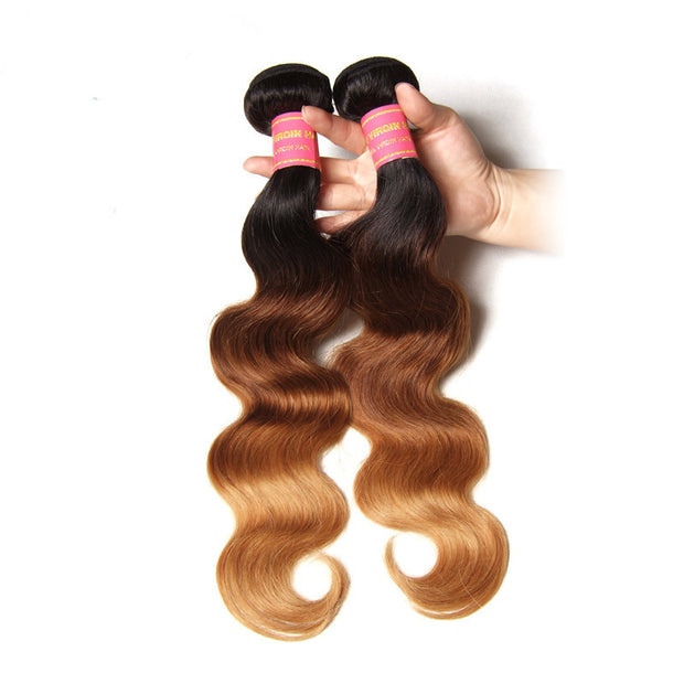 "1 Bundle Ombre  Body Wave Hair #T1b/4/27 Ombre Brown Virgin Hair, 16""-26"" - Sunberhair"