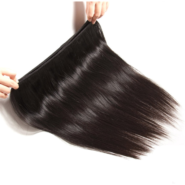 Brazilian Virgin Hair Silky Straight Hair 3 Bundles With 4x4 Lace Closure, 7A Human Hair Weaves