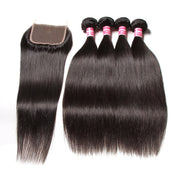 Brazilian Straight Hair 4 Bundles With Lace Closure, 100% Unprocessed Human Weaves - Sunberhair