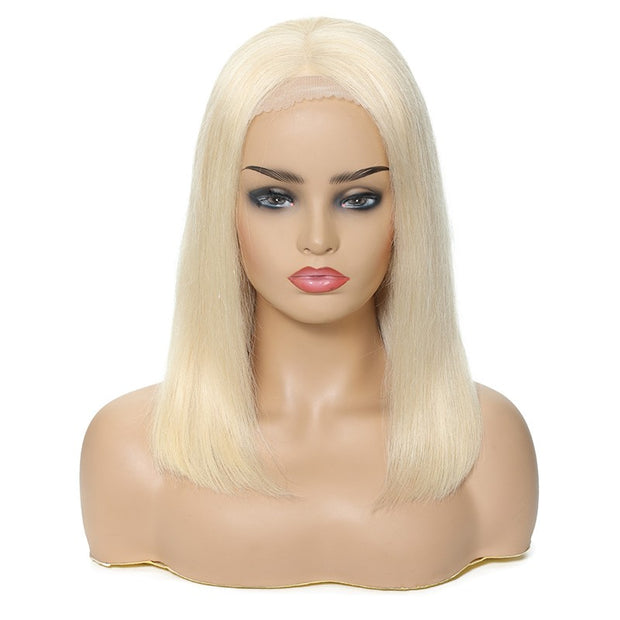 Bob Lace Front Human Straight Hair 613 Color Wig 100% Remy Human Hair, 150% Density