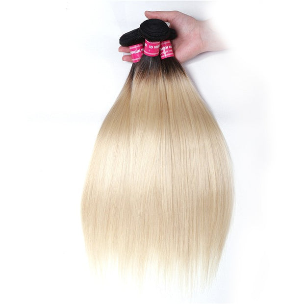Straight Hair 3 Bundles T1b/613 Color Ombre Hair 100% Virgin Human Hair Weaves