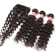 "Brazilian Virgin Deep Wave Hair 3 Bundles With  4""*4"" Lace Closure, 100% Human Hair"
