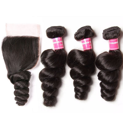 Brazilian Virgin Loose Wave Hair 3 Bundles with 4*4 Lace Closure, 100% 7A Virgin Hair Bundles - Sunberhair