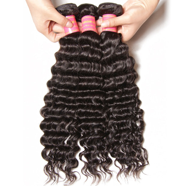 "Brazilian Virgin Deep Wave Hair 3 Bundles With  4""*4"" Lace Closure, 100% Human Hair - Sunberhair"
