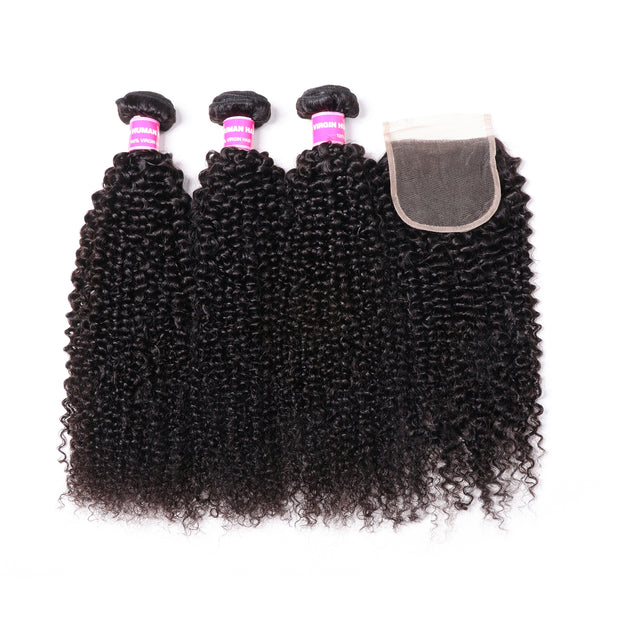 Sunber Brazilian Kinky Curly Hair 3 Bundles With 4*4 Lace Closure  On Sale,100%  Human Hair