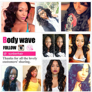 Malaysian Body Wave 3 Bundles With 13X4 Lace Frontal, 100% Virgin Malaysian Hair Weaves - Sunberhair