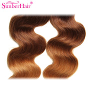 Malaysian Ombre Body Wave Hairs 3 Bundles, T1B/4/27 Ombre Human Hair Weaves - Sunberhair
