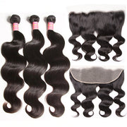 Body Wave 3 Bundles with 13*4 Transparent Ear to Ear Frontal Closure