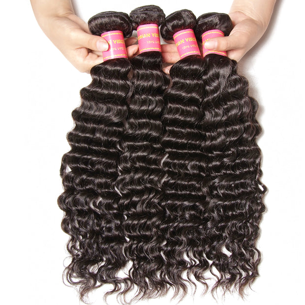 Virgin Peruvian Deep Wave Hair Weaves, 4 Bundles with 4*4 Lace Closure - Sunberhair