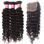 "Peruvian Deep Wave Hair 3 Bundles With  4""*4"" Lace Closure, Free Part, 100%  Human Hair"