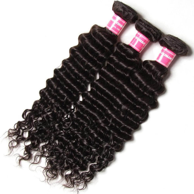 "Peruvian Deep Wave Hair 3 Bundles With  4""*4"" Lace Closure, Free Part, 100%  Human Hair - Sunberhair"