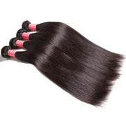 7A Peruvian Straight Hair 4 Bundles with 13*4 Frontal Closure, 100% Human Virgin Hair Weaves - Sunberhair
