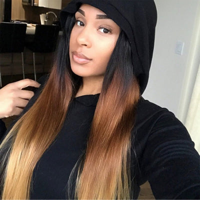 Ombré Hair T1b/4/27 Straight Human Hair 3 Bundles with Lace Closure