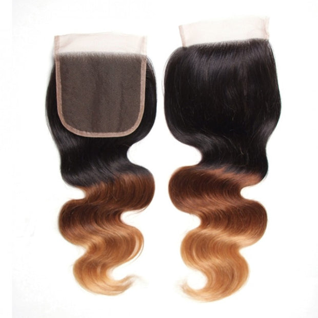 Ombre T1B/4/27 Human Hair Lace Closure 4*4 Body Wave Closure