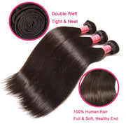 Brazilian Hair Straight Hair Bundles 3 Bundles with 360 Lace Frontal Closure - Sunberhair