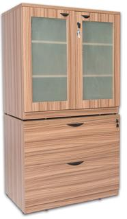 Glass Door Storage with 2-Drawer Lateral File Cabinet