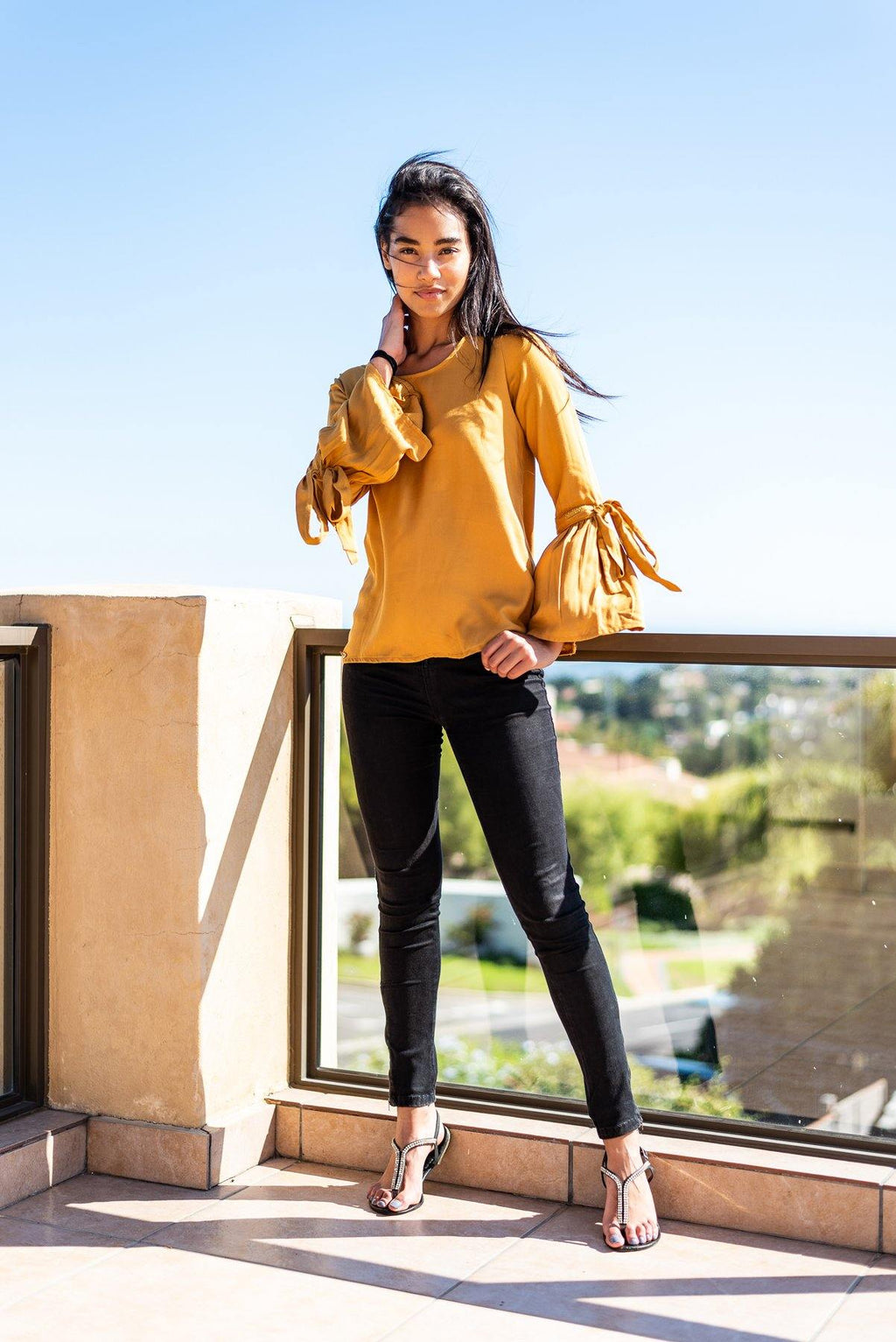Bell Sleeve Top in Marigold