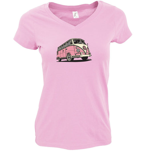 Orchid Pink V-Neck T-Shirt Ladies VW Bus