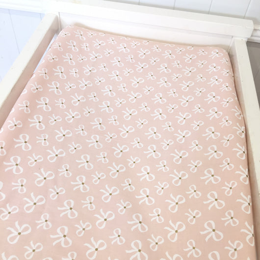 Pink/gold bows bassinet sheet/ change table cover