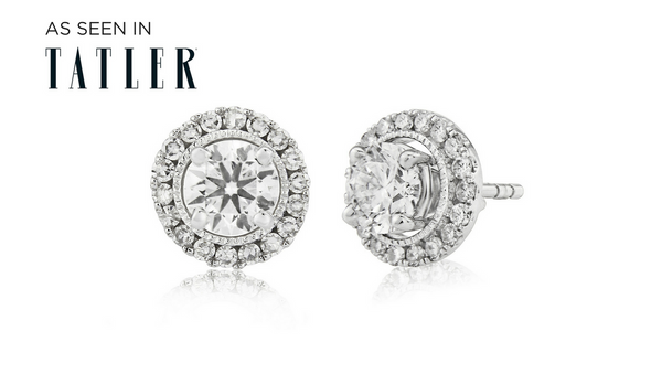 House of Huxley diamond halo earring jackets with brilliant cut diamond earrings as seen in Tatler