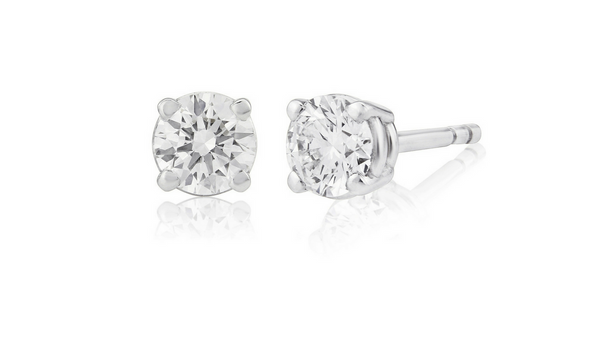 Round cut diamond studs, 0.52 carat GIA graded D, VS1 brilliant cut diamond earrings, side view