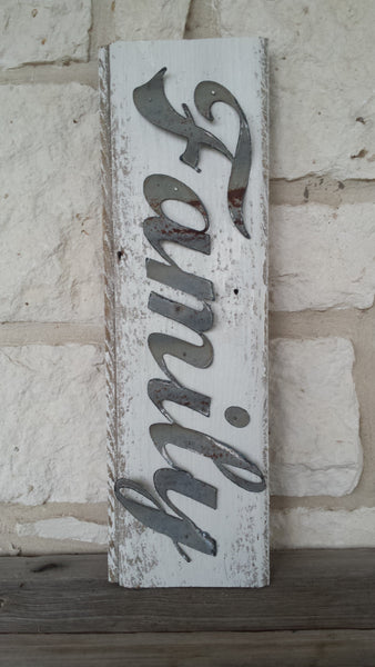 Handmade Reclaimed Barn Tin Family Sign