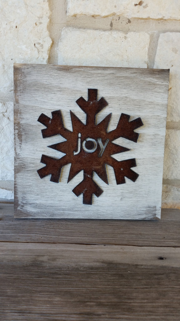 Handmade Reclaimed Barn Tin Sign | Joy Snowflake