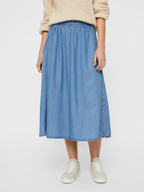 LYOCELL MIDI SKIRT WITH BUTTON DETAILS