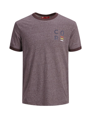 HEATHERED T-SHIRT WITH CONTRAST EDGES