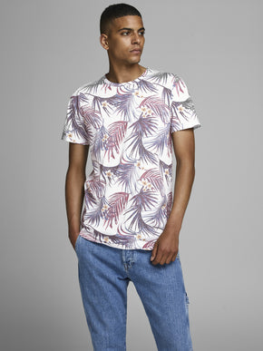 T-SHIRT COUPE LONGUE TROPICAL À DESIGN ESTOMPÉ