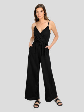 STRETCH JUMPSUIT WITH WIDE LEG