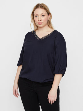 NAVY BLOUSE WITH LACE DETAIL