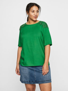 GREEN BLOUSE WITH LACE