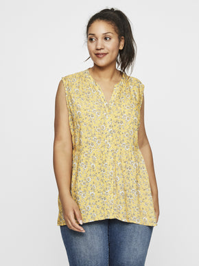 SLEEVELESS TOP WITH FLOWERS