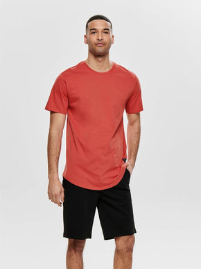LONG FIT T-SHIRT WITH A CURVED HEMLINE