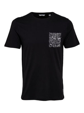 POCKET T-SHIRT WITH FUNKY DRAWINGS