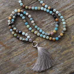 Amazonite Tassel Necklace Necklaces