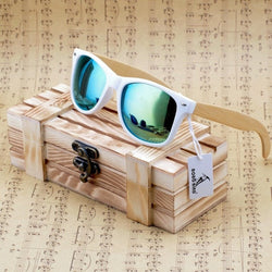 Bamboo Wooden Sunglasses White Frame With Coating Mirrored UV 400 Protection Lenses in Wooden Box Men, Women sunglasses