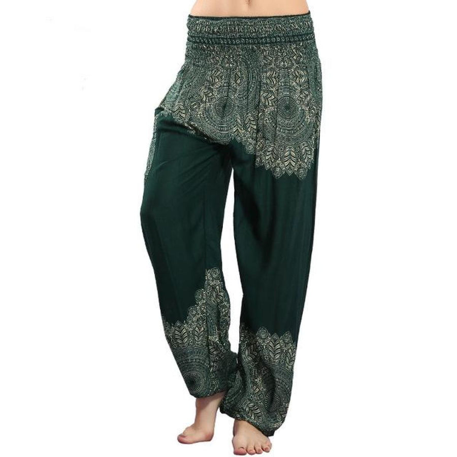 Half Print Bohemian Yoga Beach Vacation Lounge Harem Pants Darkgreen