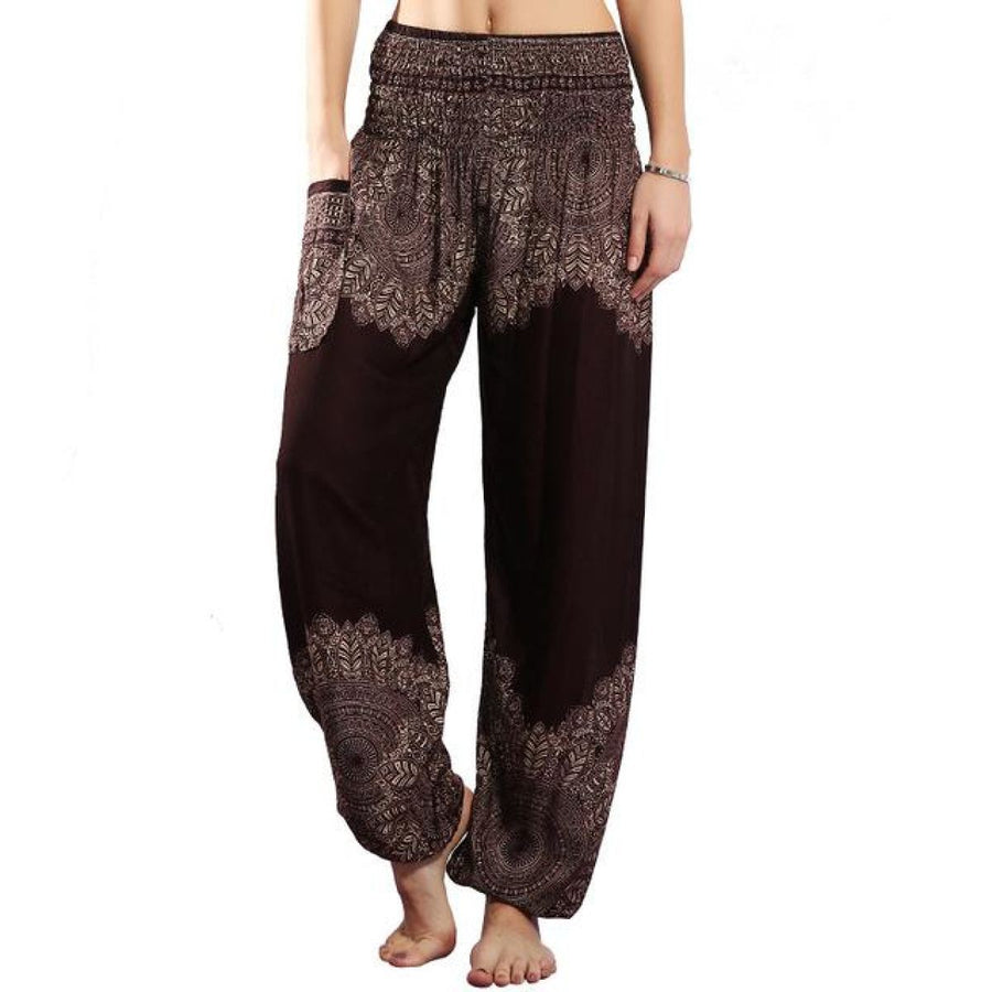 Half Print Bohemian Yoga Beach Vacation Lounge Harem Pants Saddlebrown