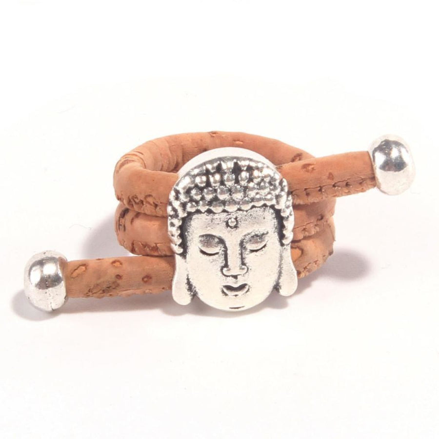 Natural Eco Cork Vegan Yoga Antique Buddha Head Vintage Handmade Ring Burlywood