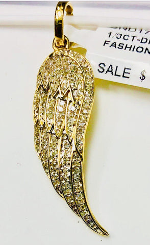 10k Gold Diamond Angel Wing