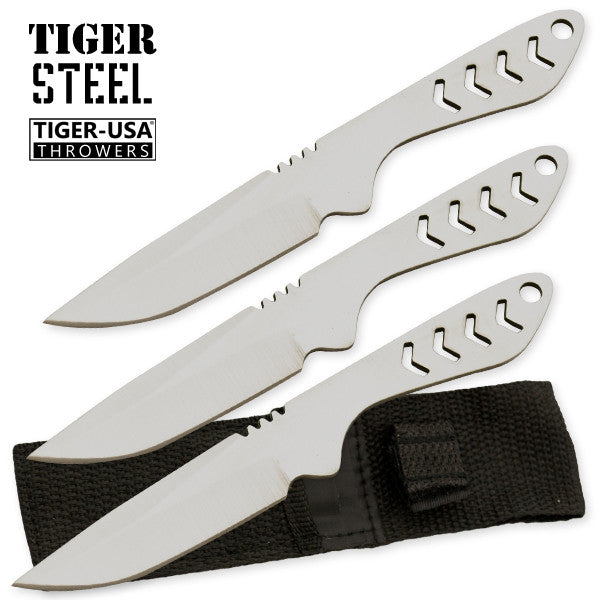 3 PC Silver Tiger Steel 440 Stainless Throwing Knives, , Panther Trading Company- Panther Wholesale