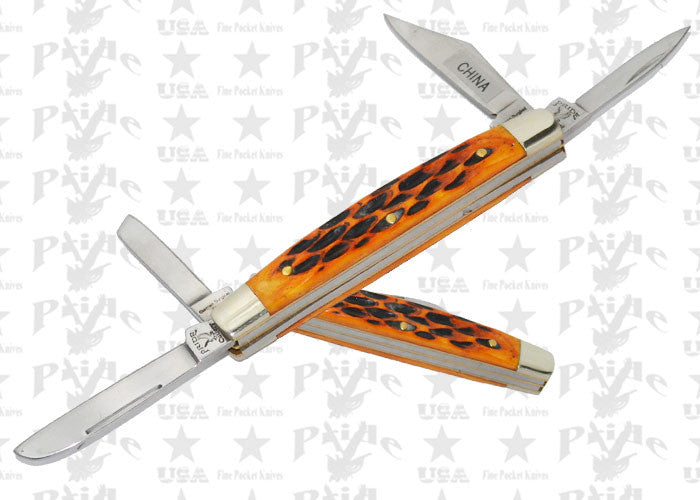 4-Bladed Pride Cutlery Folding Knife - Orange Bone, , Panther Trading Company- Panther Wholesale