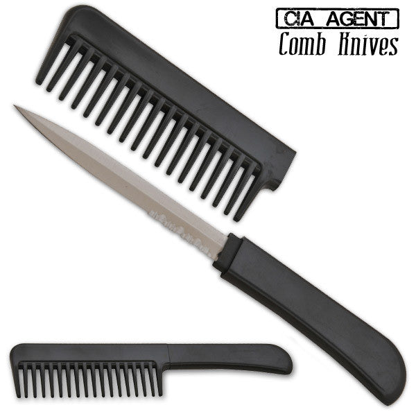 CIA Agent Comb Knife (Black/Silver), , Panther Trading Company- Panther Wholesale