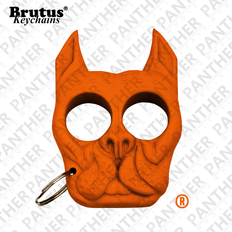 Brutus the Bull Dog - Public Safety Keychain - Orange, , Panther Trading Company- Panther Wholesale