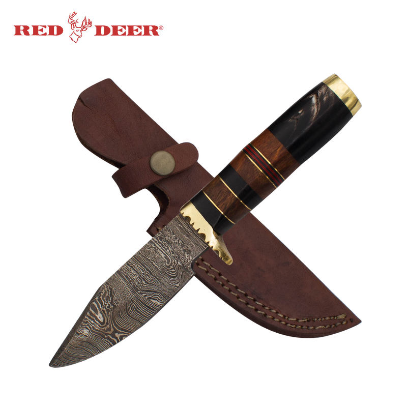 Red Deer Fine Damascus Full Tang Buffalo Horn, Brass Guard, Pakka Wood, , Panther Trading Company- Panther Wholesale